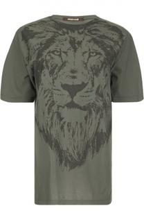 Хлопковая футболка с контрастным принтом Roberto Cavalli