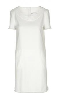 Прямое джинсовое платье с круглым вырезом и бахромой 7 For All Mankind