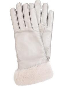 Кожаные перчатки с отделкой из меха норки Loro Piana