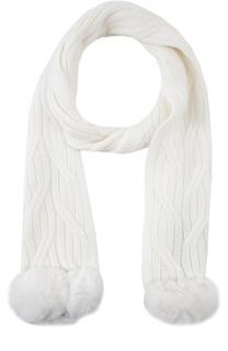 Кашемировый шарф с отделкой из меха шиншиллы Loro Piana