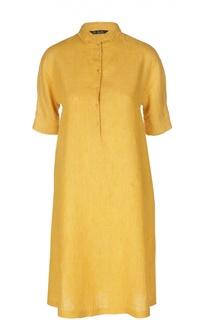 Льняное платье-рубашка с укороченным рукавом Loro Piana