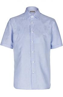 Рубашка в клетку  из смеси льна и хлопка Canali