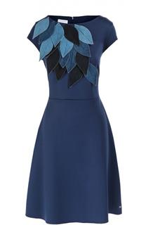 Приталенное платье с вырезом-лодочка и аппликацией в виде листьев Escada Sport