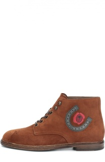 Замшевые ботинки Marsala с брогированием и аппликацией Dolce & Gabbana