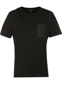 Хлопковая футболка с круглым вырезом и нагрудным карманом BOSS