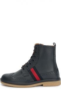 Кожаные ботинки с перфорацией Gucci
