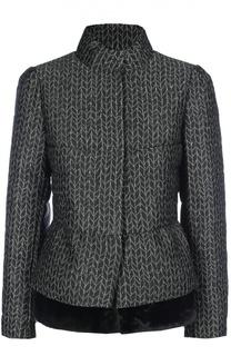 Укороченная куртка с баской и меховой отделкой Armani Collezioni