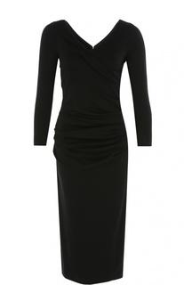 Платье-футляр с V-образным вырезом и длинным рукавом Armani Collezioni