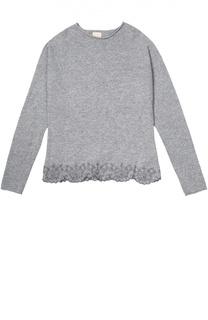 Пуловер с круглым вырезом и фактурной отделкой Kuxo Cashmere