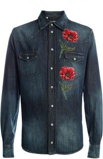 Джинсовая рубашка с вышивкой Dolce & Gabbana