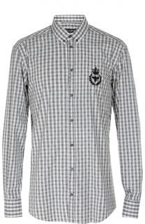 Хлопковая рубашка в клетку с воротником button down Dolce & Gabbana