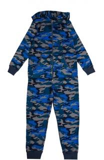 Хлопковая пижама на молнии с капюшоном Sanetta