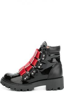Лаковые ботинки с контрастными ремешками Dsquared2