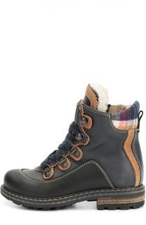 Кожаные ботинки с текстильной вставкой Dsquared2
