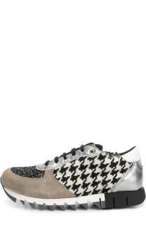 Комбинированные кроссовки с меховой отделкой Dolce & Gabbana