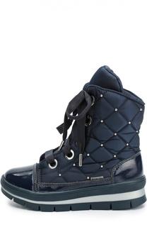Текстильные ботинки с кожаной отделкой и заклепками Jog Dog