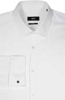 Хлопковая сорочка с воротником кент и французскими манжетами BOSS