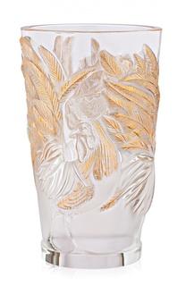 Ваза с петухами с позолотой Lalique