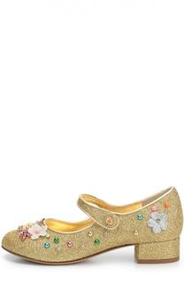 Туфли с глиттером и декором Dolce & Gabbana