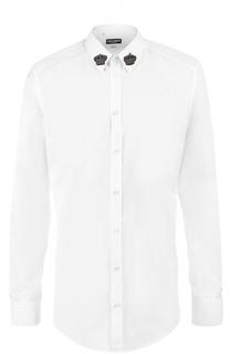 Хлопковая сорочка с вышивкой на воротнике Dolce & Gabbana