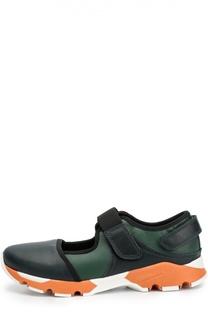 Кожаные кроссовки с застежками велькро Marni