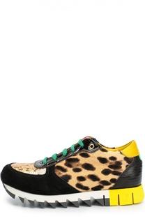 Комбинированные кроссовки с глиттером и рисунком Dolce & Gabbana