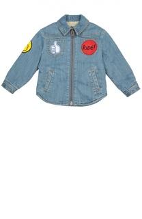 Джинсовая куртка на молнии с нашивками Stella McCartney