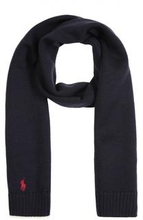 Вязаный шарф из шерсти с вышивкой Polo Ralph Lauren