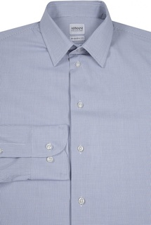 Хлопковая рубашка в мелкую клетку Armani Collezioni
