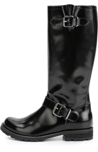 Высокие кожаные сапоги с ремешками Gallucci