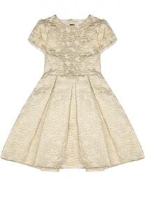 Приталенное платье с бантом и металлизированной отделкой Oscar de la Renta