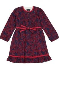 Платье с длинным рукавом и ярким принтом Oscar de la Renta