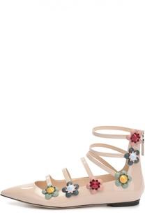 Лаковые балетки с цветочными аппликациями Fendi