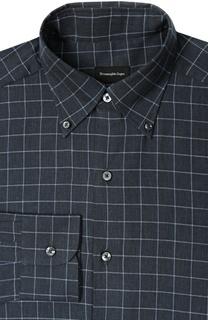 Рубашка из смеси хлопка и кашемира с воротником button down Ermenegildo Zegna