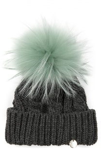 Вязаная шапка с помпоном из меха Yves Salomon Enfant