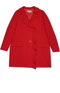 Пальто с оборкой и карманами Simonetta