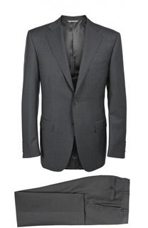 Шерстяной приталенный костюм в полоску Canali