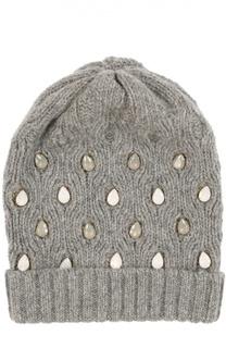 Вязаная шапка с вышивкой стразами Catya