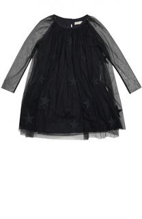 Платье из тюля с нашивками в виде звезд Stella McCartney