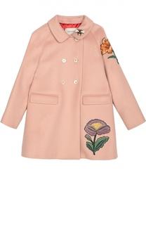 Пальто из смеси шерсти и кашемира с вышивкой Gucci