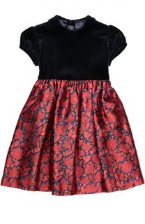 Приталенное платье с бархатным лифом Oscar de la Renta