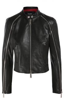 Укороченная кожаная куртка с воротником-стойкой Dsquared2