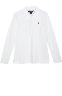 Поло с длинным рукавом и вышитым логотипом бренда Polo Ralph Lauren