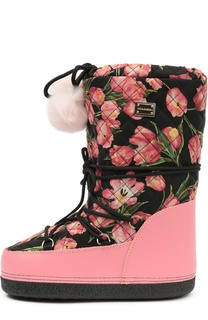 Текстильные сапоги с цветочным принтом Dolce & Gabbana