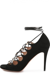 Замшевые босоножки Rockstud Gladiator на шнуровке Valentino