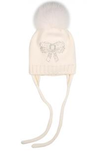 Шерстяная шапка с помпоном из меха лисы и декором Catya