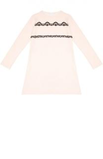 Сорочка с контрастной кружевной отделкой La Perla