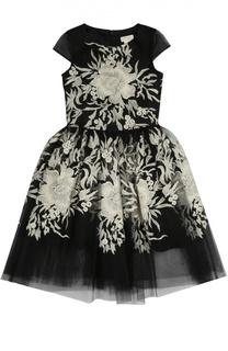 Платье с пышной юбкой и контрастной вышивкой David Charles