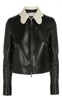 Кожаная куртка прямого кроя с контрастным воротником Valentino