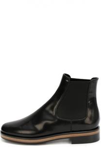 Кожаные челси на наборном каблуке Giorgio Armani